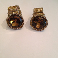 Vintage Swank Gold Amber Crystal Cuff Links 1960s - 1970s Costume Jewelry Mens