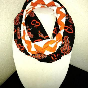 Baltimore Orioles Infinity Scarf - Lightweight Cotton, jersey knit - Beautiful, baseba