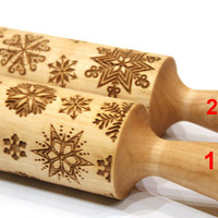 Set of 2 Snowflake Engraved Rolling Pins , Embossing, Christmas Gift, Christmas pattern roller, Embossed Dough Roller