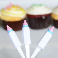 12 Baby Bottle Cupcake Picks Baby Shower Cake Decoration DIY Crafts
