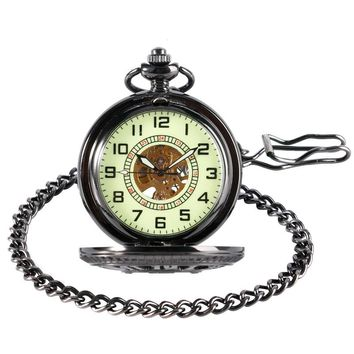 Luxury Steampunk Black Hollow Mickey Mouse Arabic Numbers Mechanical Hand Wind Pocket&Fob Watches With Noctilucent