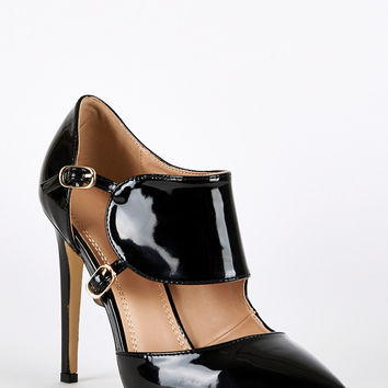 Patent Cut Out Buckle Court Shoes