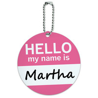 Martha Hello My Name Is Round ID Card Luggage Tag