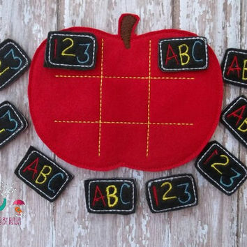 Apple back to school abc 123 tic tac toe game embroidered, board game activity travel game quiet game busy bag felt board play set learning