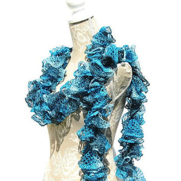 Turquoise Frilly Ruffled Scarf, Sashay Scarf, Crochet Scarf,Woman's Scarf, Handmade Scarf, Fashion Scarf, Gifts for Her, Ruffle Boa