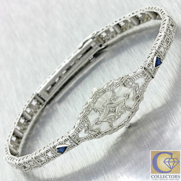 1930s Antique Art Deco 14k Solid Gold Sapphire Diamond Camphor Glass Bracelet