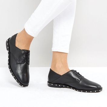Stradivarius Lace Up Studded Brogues at asos.com