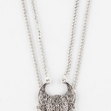 Full Tilt Layered Chain Statement Choker Antique Silver One Size For Women 27171858201