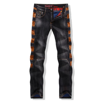 Rinsed Denim Mosaic Denim Style Men's Fashion Pants [6541762883]