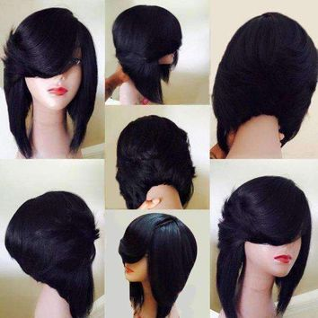 Medium Side Flip Part Layered Straight Inverted Bob Synthetic Wig - Black | fwresh Beauty