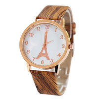 Mens Womens Vintage Sports Leather Watch Unisex Fashion Casual Eiffel Tower Watches Best Gift