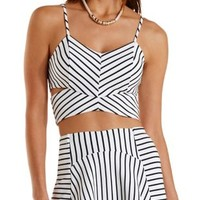 White Combo Striped Cut-Out Crop Top by Charlotte Russe