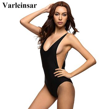 Bather 2018 New Sexy 1 one piece swimsuit Backless swim suit for women Swimwear Bathing suit swim wear female Monokini V111