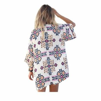 Women's Kimono-Type Summer Shirt With Multicolored Geometric Design.     In Sizes Small to XL.     ***FREE SHIPPING***