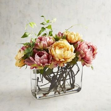 Faux Pink Citrus Peony Arrangement in Glass Container