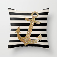 GOLD GLITTER ANCHOR IN BLACK AND NUDE Throw Pillow by Colorstudio