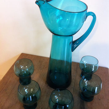1970s 80s Water Set Pitcher & 5 Glasses by EditMyPast on Etsy