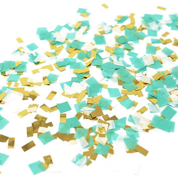 Mint Aqua White Gold Foil Shredded Confetti Paper Glitter Party Decoration