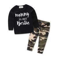 2017 new baby boy clothes Fashion letter T shirt+Camouflage pants boys Baby Clothing Sets Cotton Long Sleeve baby 2pcs set