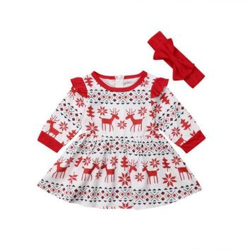 Toddler Kids Baby Girl Clothing Christmas Fly Sleeve Party Dress Headband Long Sleeve Cute Mini Party Dress Kid Girl 6M-5T