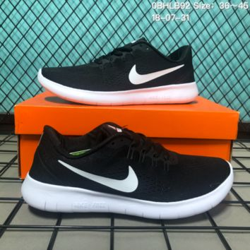 DCCK N153 Nike Air Free 5.0 Flyknit Breathable Causal Running Shoes Sneaker Black White