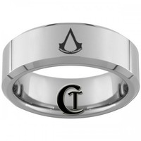 8mm Beveled Tungsten Carbide Assassins Creed Laser Design Ring | CustomTungsten - Jewelry on ArtFire