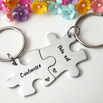 Customized Gifts for Him, Personalized Keychain Set, Puzzle Piece Keychain, Set of TWO, Choose your Text, Boyfriend Gift Anniversary