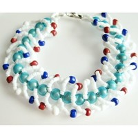 Alabaster White Turquoise and Coral Red Flat Spiral Woven Bracelet