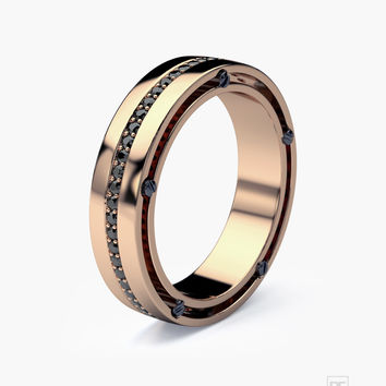 FRANKLIN Gold Mens Wedding Band with Black Diamonds