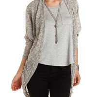Marled Slub Cocoon Duster Cardigan by Charlotte Russe - Lt Gray Combo