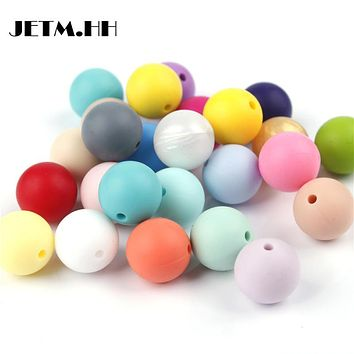 JETM.HH100pcs Silicone Beads 9mm Round Bpa Free Diy Bead For Tooth Silicone Teether Necklace Jewelry Making Baby Teething Toys