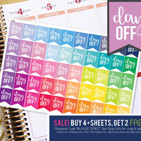 Day Off Vacation Flag Planner Stickers To Be Used With Erin Condren LifePlanner (ECLP), Happy Planner - 50 Stickers  (#11008)