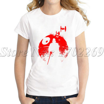 Hot sales cheapest Women fashion t-shirt short sleeve o-neck casual tops novelty Death Star Dark Lord funny tee shirts