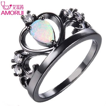 AMORUI Vintage Crown Black Gold Color White CZ Stone Rings for Women Fashion Waterdrop Colorful OPal Engagement Ring Bague Gift