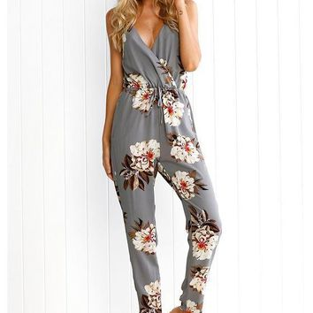 Grey Floral Cross Back Drawstring Waist Long Jumpsuit