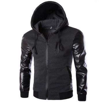 2016 New Fashion Men Hoodies Patchwork Leather Sleeve Slim Hoodies Men Jacket Coat Sweatshirt Casual Suit Pullover Tracksuits