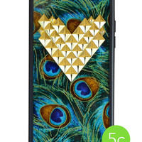 Peacock Gold Studded Heart iPhone 5c Wildflower Case