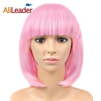 Alileader Straight Hair 12 Inch Cosplay wig 23colors black Pink Blonde Red Blue Womens Party Synthetic Wigs Heat Resistant hair