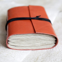 Reclaimed leather journal, leather notebook, travel journal, travel notebook, leather diary, hand bound blank book tangerine