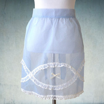 1950s Half Apron Blue Chiffon Swiss Dot Lace Trim Like New