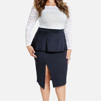 17830 Fashion to Figure Dara Scuba Peplum Pencil Skirt Size 1 - NWT
