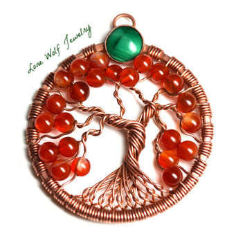 Tree of Life Pendant Copper Carnelian Bezel Set Malachite Twisted Wire Wrapped Metaphysical Tree Necklace Yggdrasil Celtic Tree