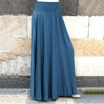 Spring Skirt of Women Elastic Waist Solid Pleated Vintage A-line Loose Long Skirts For Ladies Casual Party Women Skirt