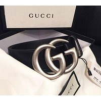 GUCCI Fashionable Women Men Delicate Diamond Smooth Buckle Belt Leather Belt
