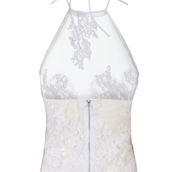 White Halter Backless Sheer Lace Crop Top