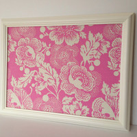 MED. framed magnetic bulletin board, pink and cream floral fabric, vintage style, magnet board, dorm decor, girl's room, photo display
