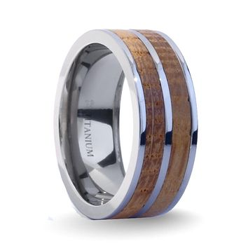 Real Whiskey Barrel Wood Twin Inlay Titanium Wedding Ring