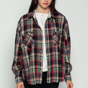 Grey Flannel Shirt Plaid Shirt 80s Oversized Grunge Flannel Button Down up Lumberjack 70s Vintage Long Sleeve Red Black Large
