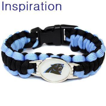USA Football Team Carolina Panthers Paracord Bracelet Outdoor Fashion Survival Bracelet With Black Buckle Emergency Equipment