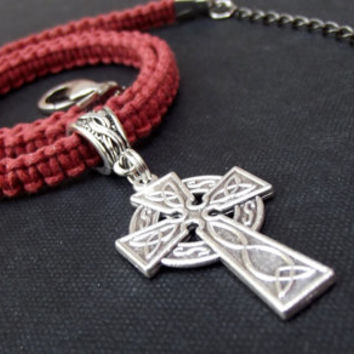 Celtic Cross Necklace:  Russet Reddish Brown Terra Cotta Macrame Cord Unisex Jewelry, Men's Choker Necklace